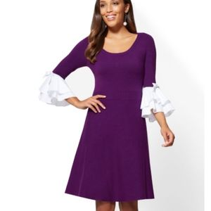 NWT NY & Co. Purple Flare Sleeve Sweater Dress